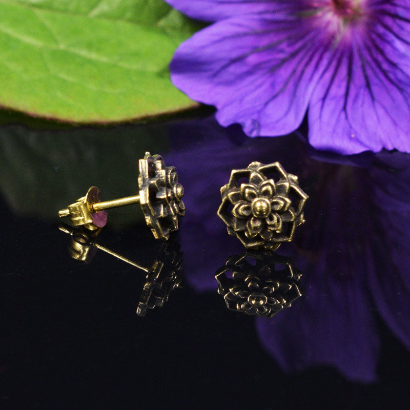 Lotus Flower Tribal Brass Studs
