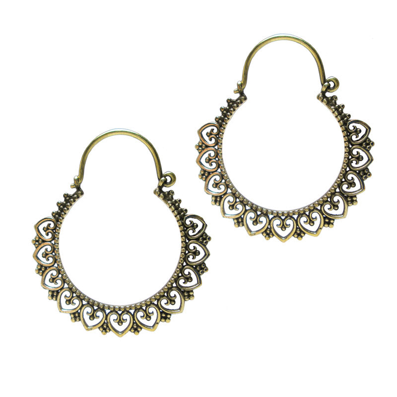 Brass Hoop Gypsy Earrings