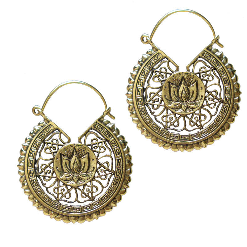 Brass Lotus Mandala Tribal Earrings