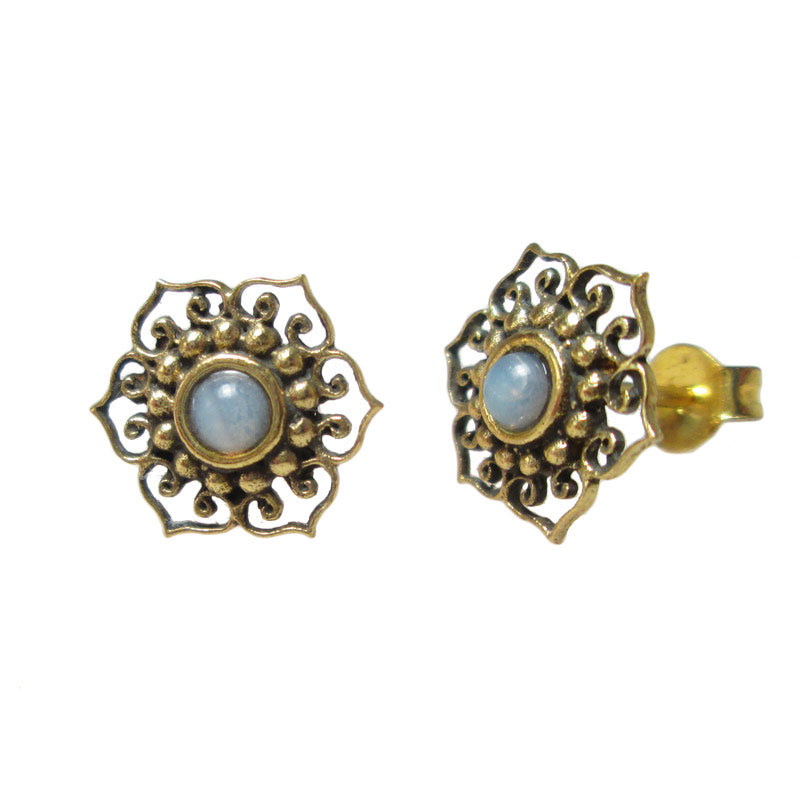 Tribal Indian Style Brass Stud Earrings
