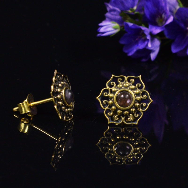 Indian Style Brass Stud Earrings