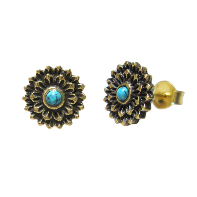 Brass Stud Earrings with Turquoise stone