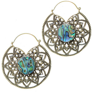 Mandala with Abalone Shell Heart Tribal Earrings