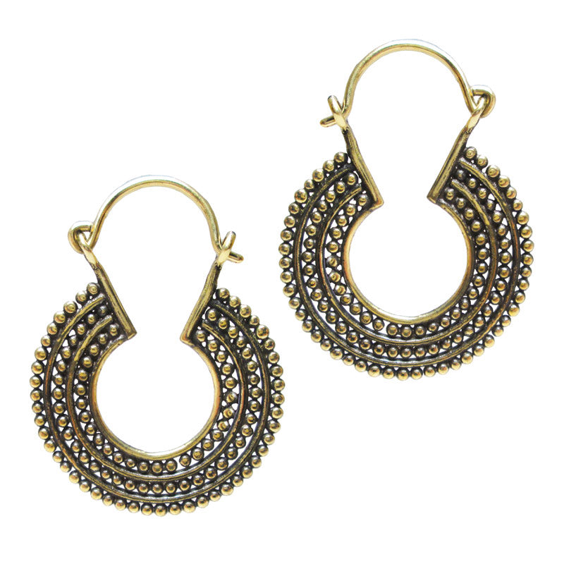 Tribal Indian Dotwork Hoop Earrings