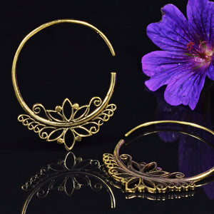 Tribal Style Ornate Brass Hoop Earrings