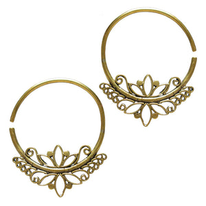 Vintage Style Brass Hoop Earrings