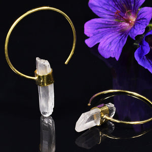Quartz Crystal Brass Hoop Earrings