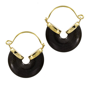 Gold Obsidian Hoop Earrings