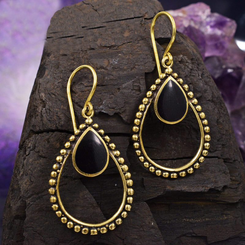 Teardrop Tribal Earrings with Black Shell