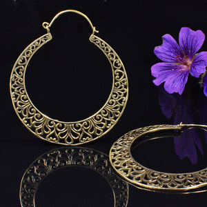 Large Tribal Hoop Earrings in Brass