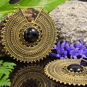 Large Brass Tribal Mandala Earrings with Onyx Stone