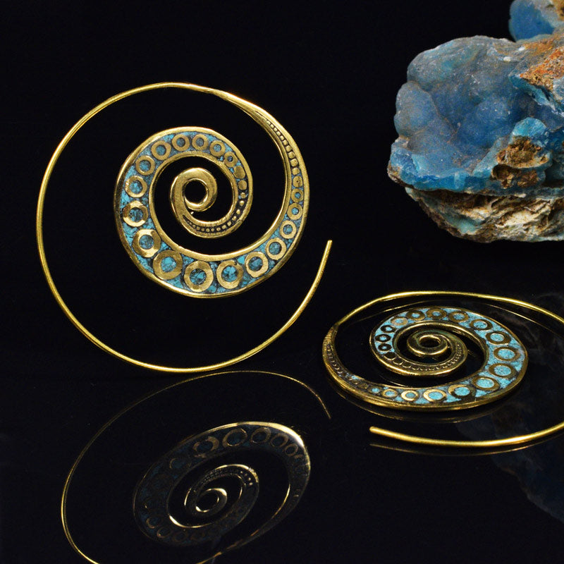 Spiral Tribal Earrings set with Turquoise Stone
