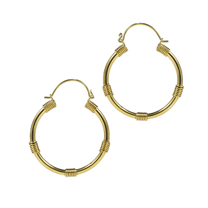 Large Tribal Hoop Earrings with Coils