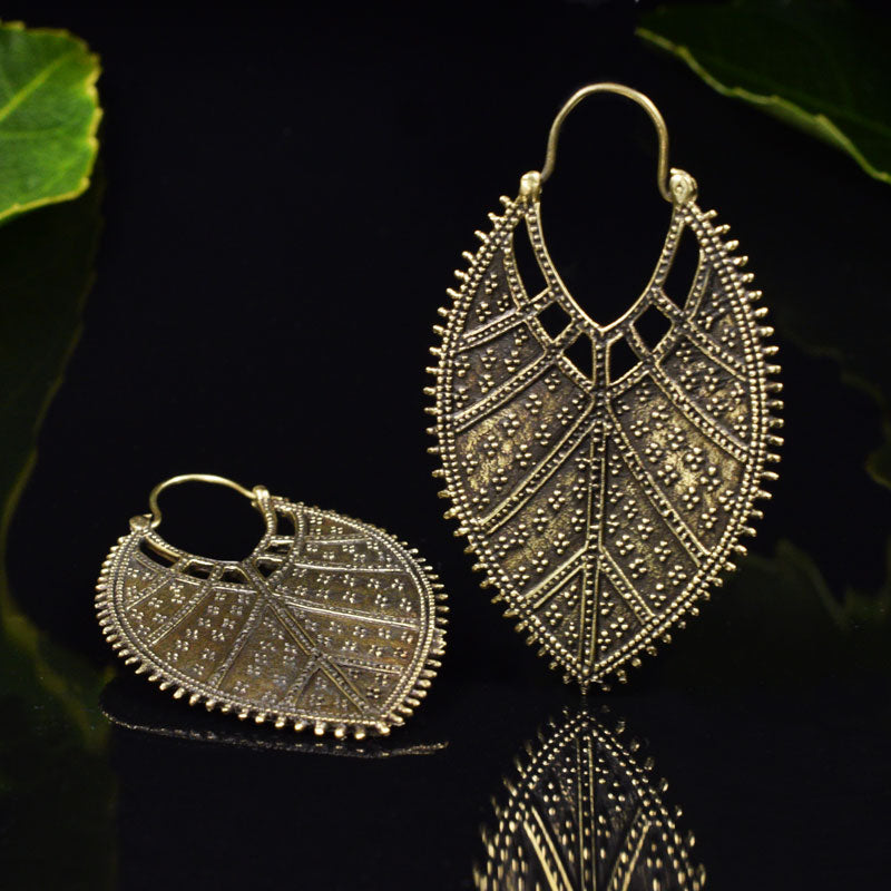 Tribal Leaf Earrings in Brass