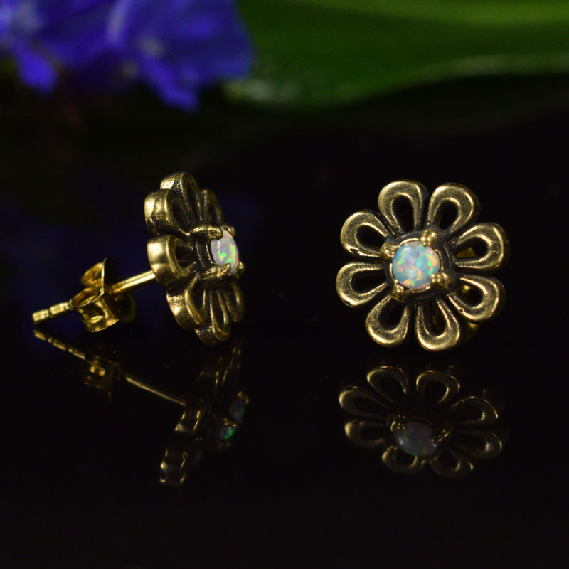 Indian Flower Stud Earrings with Opalite Stone