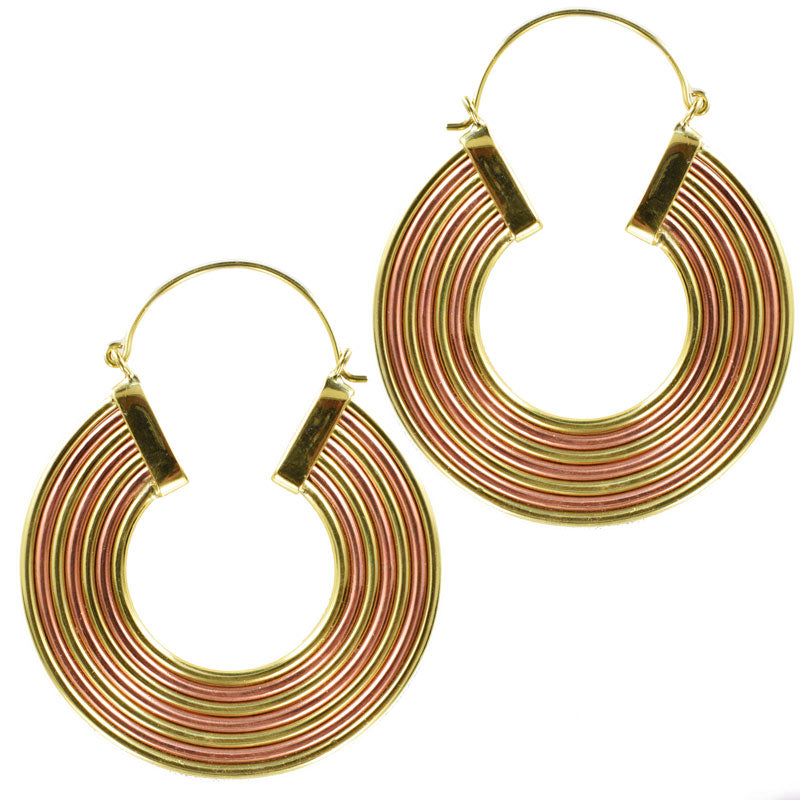 Brass and Copper Hoop Earrings 'Arcoris'