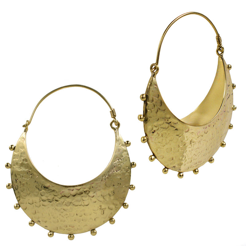 Tribal Moon Crescent Earrings