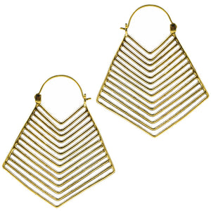 Chevron Earrings in Golden Brass