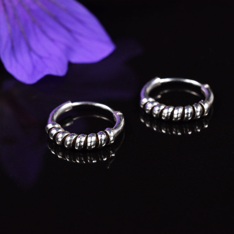 Bali Hoop Earrings Silver