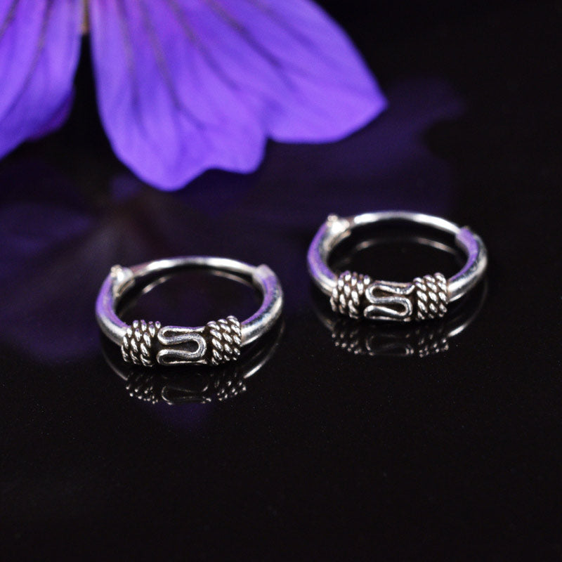 Silver Balinese Hoop Earrings Banjar