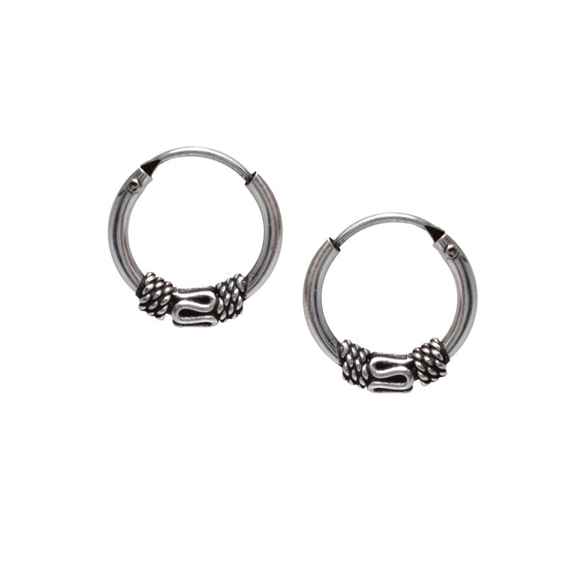 Silver Balinese Hoop Earrings 'Banjar'