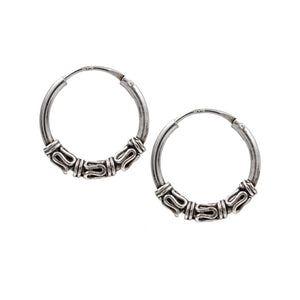 Silver Bali Hoop Earrings 'Nikita'
