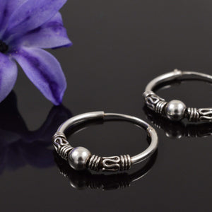 Silver Bali Hoop Earrings Suki