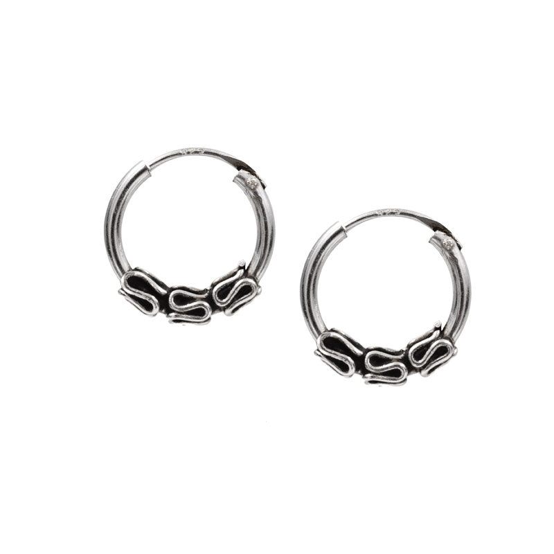 Silver Bali Hoop Earrings 'Sirano'