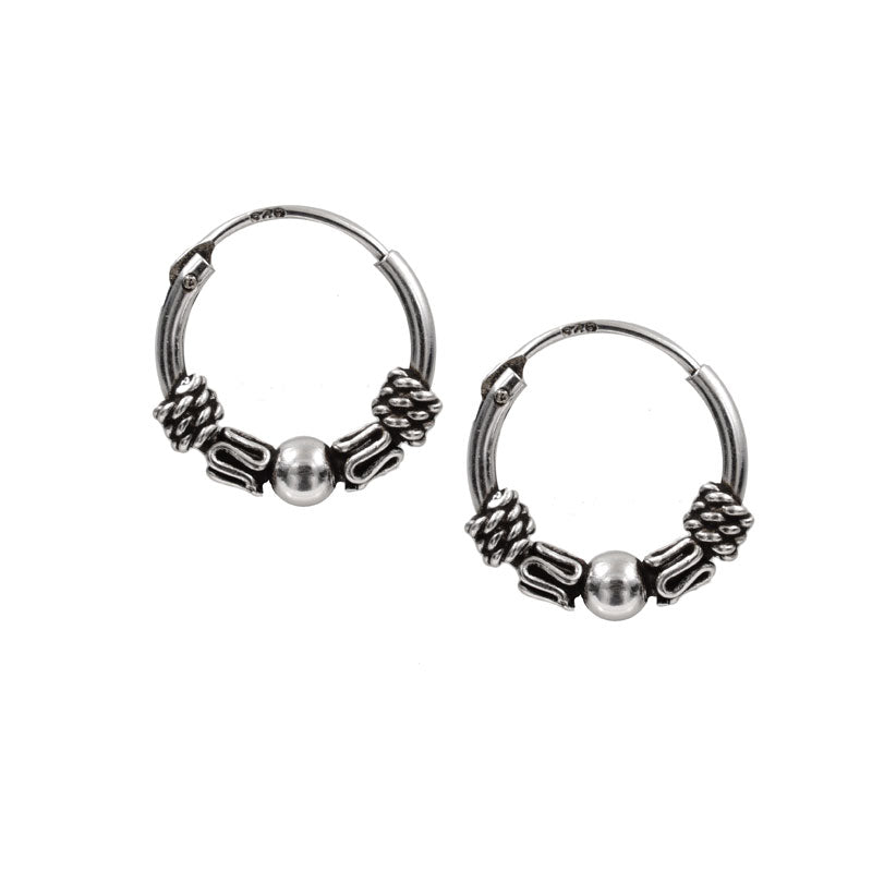 Bali Silver Hoop Earrings 'Dasa'