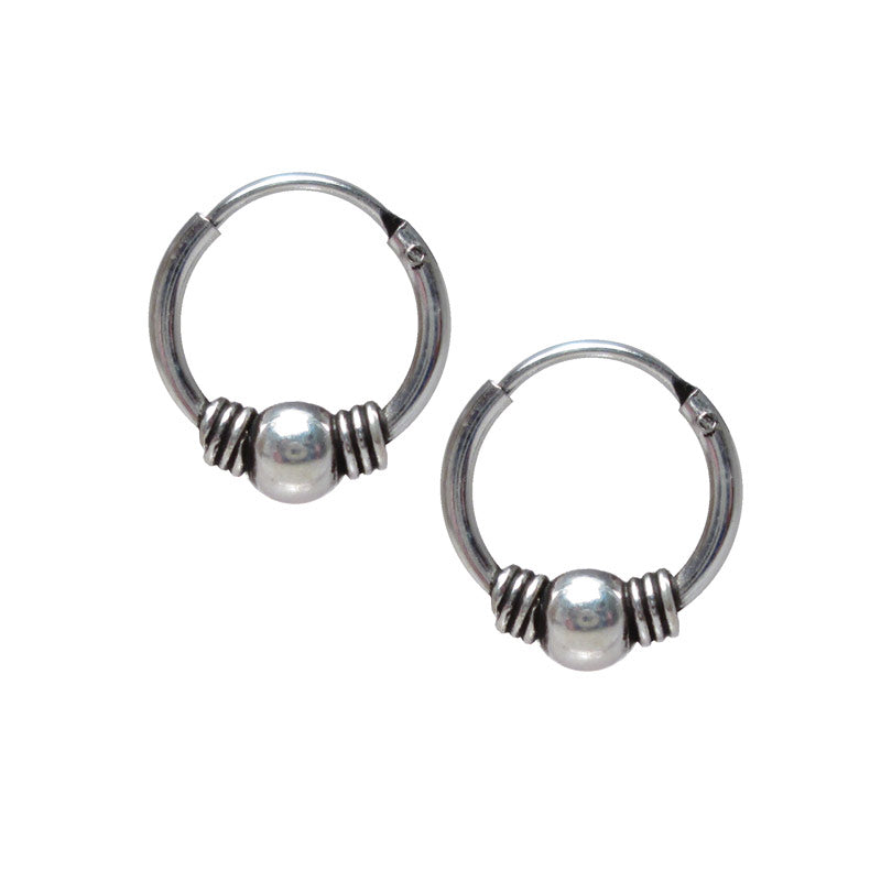 Bali Silver Hoop Earrings 'Kesuma'