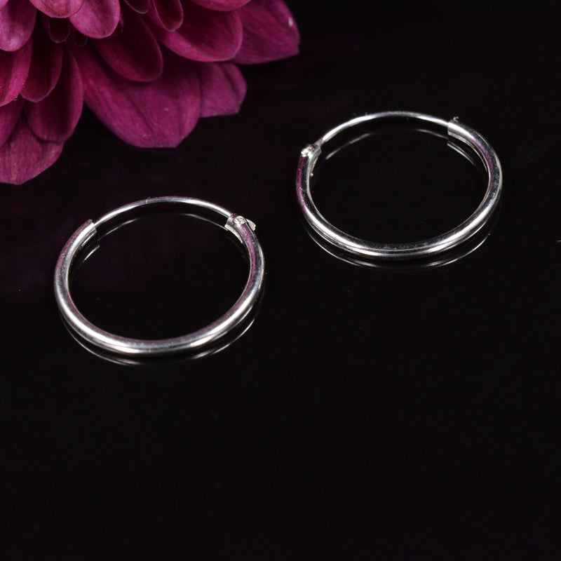 Medium Silver Hoop Earrings 14mm