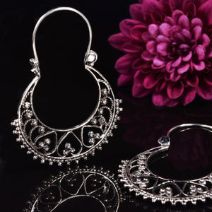 Silver Hoop Earrings in Indian Design
