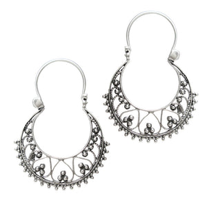 Silver Hoop Earrings in Tribal Indian Design