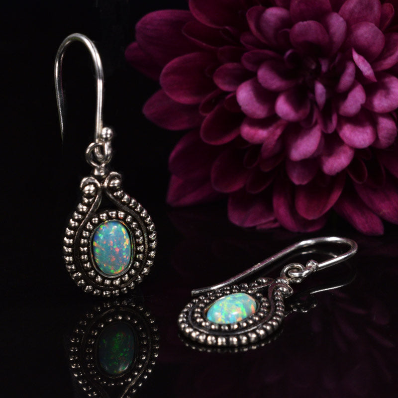 Silver Earrings with 'Opal' Stones