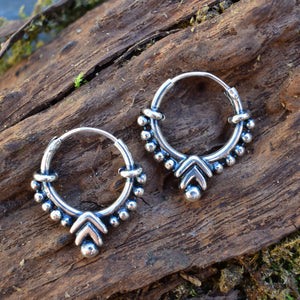 Silver Bali Hoops with Chevron Design