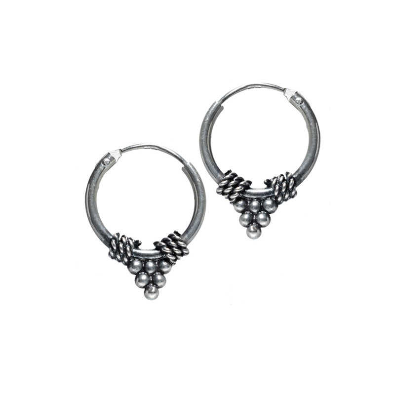 Silver Bali Hoops with Triangle of Dots
