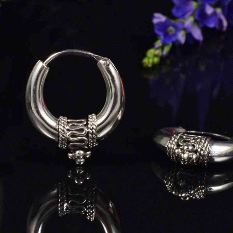 Silver Bali Hoop Earrings 'Kediri'
