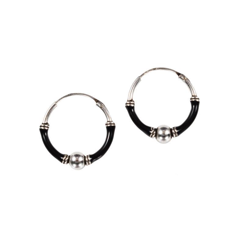 Silver Bali Hoops with Black Bands