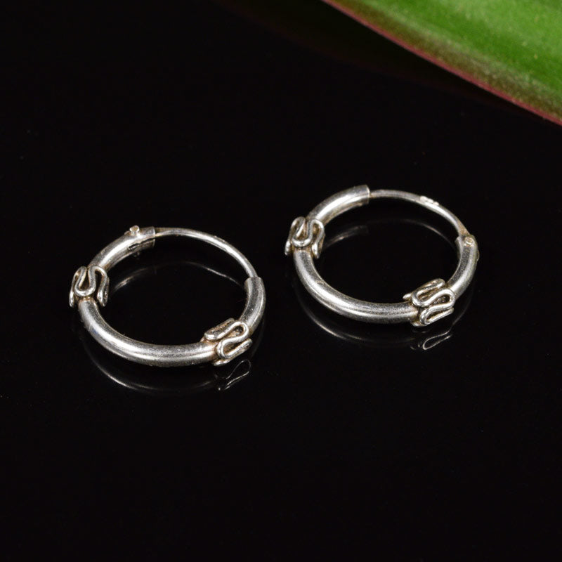 Bali Silver Hoop Earrings 'Lanika'