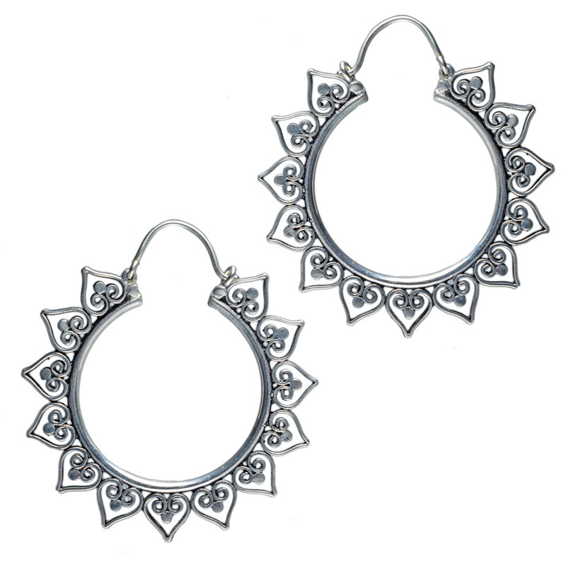 Heart Mandala Silver Plate Hoop Earrings