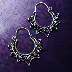 Small Heart Mandala Silver Plated Earrings