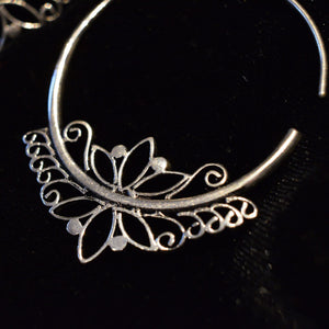 Vintage Style Silver Plated Hoops