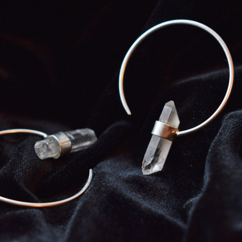Crystal Hoop Earrings in Silver Plate