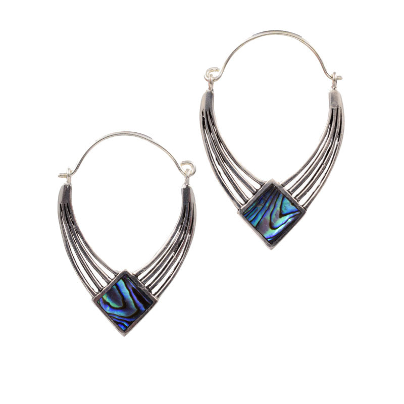 Silver Plated Art Deco Earrings With Abalone Shell Arka