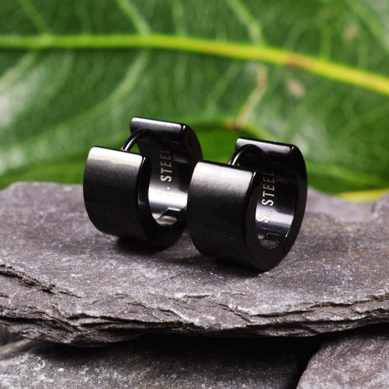 Black Steel Wide Huggies Earrings 'Versys'