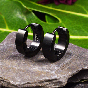 Huggies Earrings in Black Steel