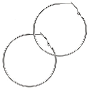 Large Steel Hoop Earrings