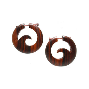 Wooden Earrings with Wave