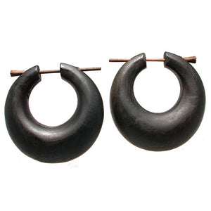 Tribal Wooden Hoop Earrings