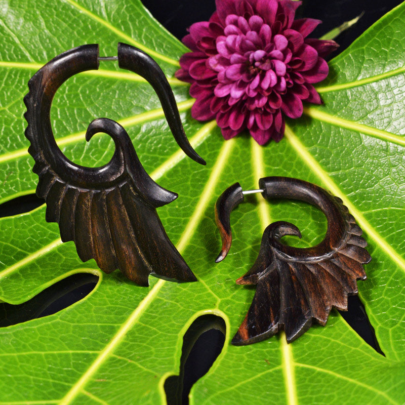 Wooden Seraphim Wing Tribal Earrings